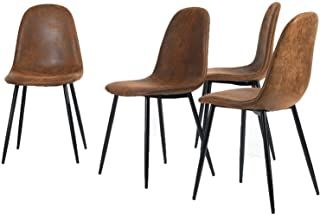 Homy Casa Dining Chairs Set de 4 sillas de Comedor Scandinavian Suede Retro Vintage Brown