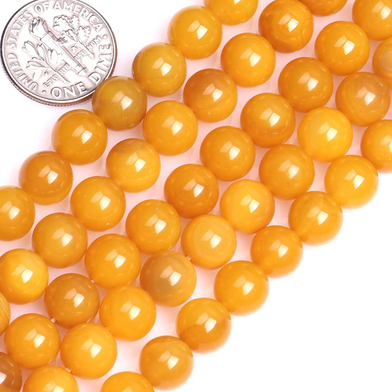 GEM-inside Gorgeous Natural Yellow Agate Gemstone Loose Beads Round 8mm Round Crystal Energy Stone Power For Jewelry Making 15 Inches