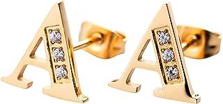 LuckyLy Aretes Mujer Oro 18k de Iniciales Letras con Zirconia Cúbica, Base de Acero Inoxidable – Joyería y Accesorios idea...
