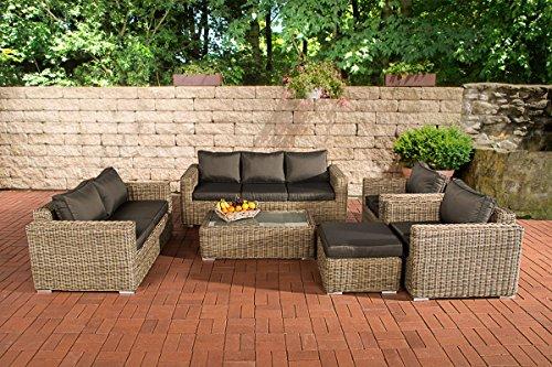 CLP Luxus ratán jardín juego de sofá MADEIRA XL, Natura, 5mm de ratán con marco de aluminio (asientos 7personas), natura, Cushion: Anthracite