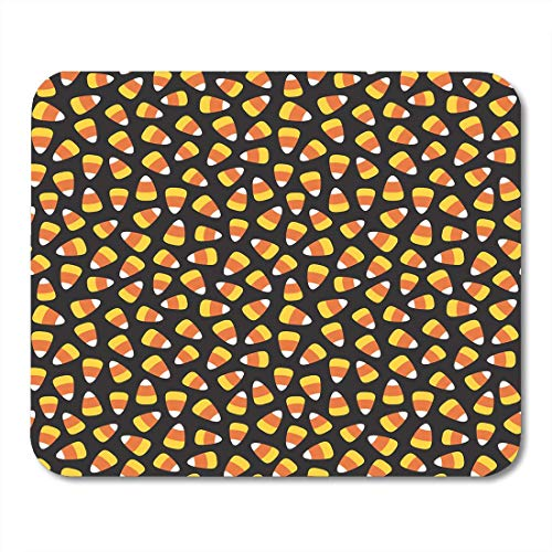 """AOHOT Mauspads Orange Autumn Candy Corn Pattern Halloween Yellow Treat Trick Black Mouse pad 9.5"""" x 7.9"""" for Notebooks,Desktop Computers Accessories Mini Office Supplies Mouse Mats"""