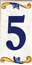"""Huisnummer. Keramisch huisnummer. Namen en adressen. Keramisch embleem (Nummer Vijf """"5"""")"""