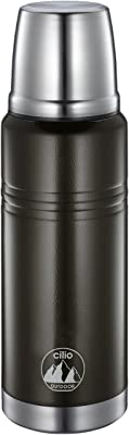 Cilio Monte Insulated Stainless Steel Travel Beverage Bottle, 16 oz, Black