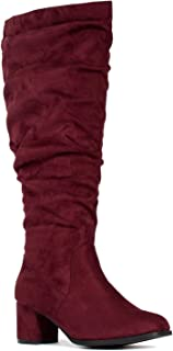 RF ROOM OF FASHION Women's Wide Calf Wide Width Block Heel Slouchy Knee High Boots w Pocket - Plus Size Friendly