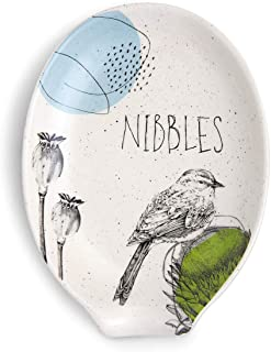 Nibbles Bird Glossy Floral White 6 x 5 Stoneware Ceramic Oval Spoon Rest