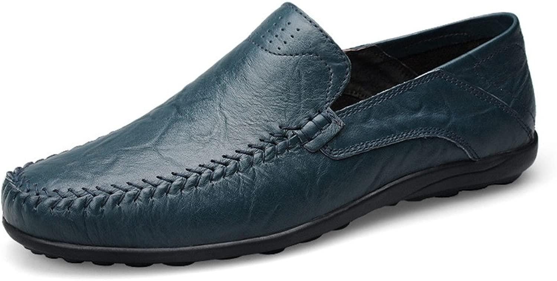 Herrenmode aus weichem echtem Leder Schuhe Casual Casual Casual Mokassins Slip On Driving Loafer Slipper (Farbe   Blau Hollow Vamp, Größe   36 EU) 78a