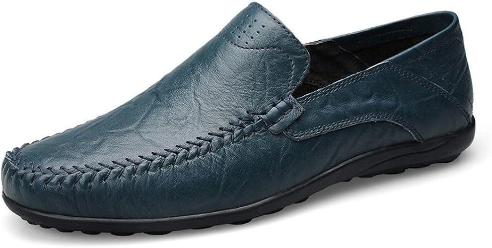 Shuo lan hu wai Les Mocassins Occasionnels Doux de Conception de Mode des Hommes Glissent sur la Conduite Mocassin de Mocassin,Chaussures de Cricket (Couleur   bleu Hollow Vamp, Taille   36 EU)