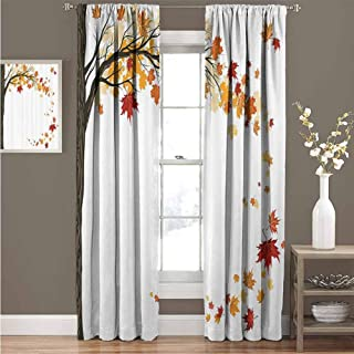 GUUVOR Fall Decorations Room Darkened Curtain Leaf Group Motion in Mother Earth Transition from Summer to Winter Decor Insulated Room Bedroom Darkened Curtains W52 x L108 Inch Brown Orange