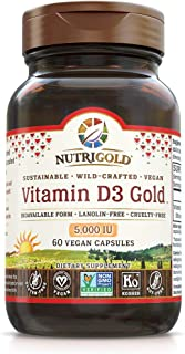 NutriGold Vitamin D3 5000 IU, 180 Mini Softgels (GMO-free, Preservative-free, Soy-free, USP Grade Natural Vitamin D in Org...
