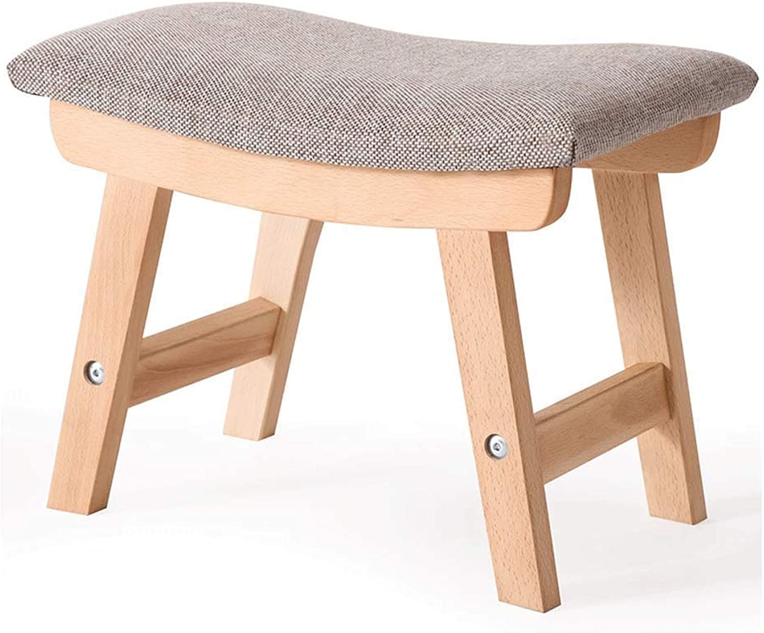 Small Stool Solid Wood Footstool Cloth Soft Surface Osman 38X24X29CM Cloth Haiming (color   A)