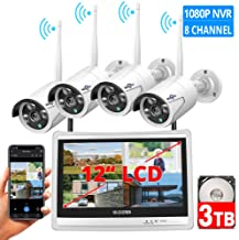 "[8CH Expandable] Hiseeu All in one with 12"" LCD Monitor Wireless Security Camera System, Home Business 8CH 1080P NVR Kit 4pcs 2MP Outdoor Bullet IP Cameras Night Vision Waterproof,3TB Hard Drive"