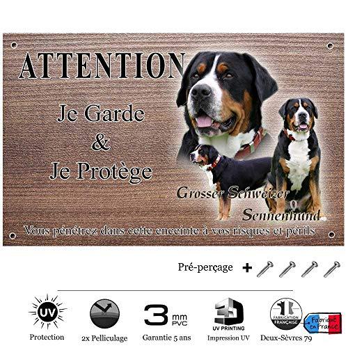 Pets-Easy.com Panneau Attention au Chien personnalisée Grand Bouvier Suisse - pré percée et vis proposées. De 30 cm à 15 cm…