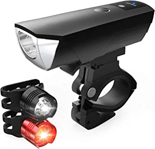 HODGSON Bike Lights Set Auto Adjustable Light 400 Lumens Bicycle Light Front and 2 Back Lights, USB Rechargeable Super Bright Headlight and 2 Flashing Rear Light, IPX64 Waterproof