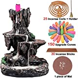 TuoFang Incense Burner, Backflow Waterfall Incense Holder Mountain Tower Aromatherapy Ornament Gifts for Home Office with 150 Backflow Incense Cones, 30 Incense Sticks, 25 Incense Coils