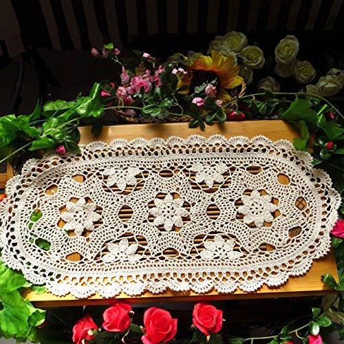 Ustide Tischläufer aus Baumwolle, handgehäkelt, oval, auch Platzdeckchen oder Tablettauflage, 30 x 70 cm, beige