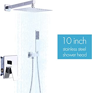KES Pressure Balancing Rain Shower System Shower Faucet Complete Set Square Polished Chrome (Including Shower Faucet Rough-In Valve Body and Trim), XB6230-CH