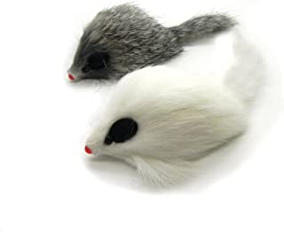 Kats'N Us Real Rabbit Fur Long Hair Mouse Cat Toy - 2pk