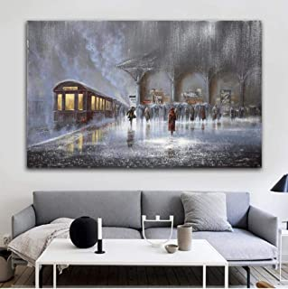 Wmszpy Canvas Painting Picture New York City Night Art Print Abstract Canvas Wall Art Oil Painting Home Decor Landcape Art Print Train with Frame-50cmx70cm