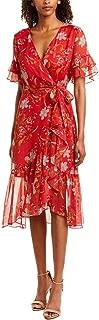 Women's Tiered Ruffle Sleeve Wildflower Wrap Dress
