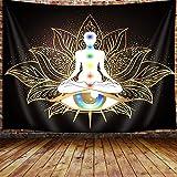 Seven Chakra Tapestry, Mandala Eyes Yoga Meditation Zen Decor Small Tapestry Wall Hanging for Bedroom, Hippie Golden Black Lotus Spiritual Tapestries Poster Beach Blanket College Dorm Home (60W X 40H)