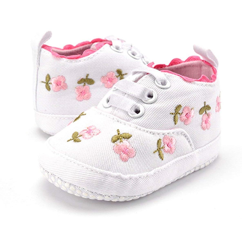 MolySunラブリーベビーシューズ0-1歳の赤ちゃんのための花の刺繍と屋内滑り止めソフトソールプレウォーカーシューズ
