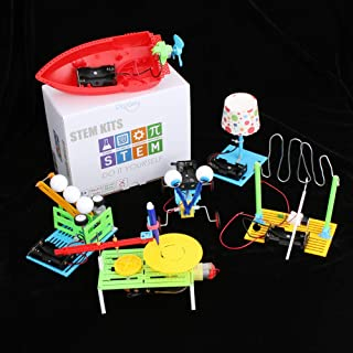 6 Set STEM Kit,DC Motors Electronic Assembly Robotic Science Kits, Mini Electric Plotter,Ball Emitter,Reptile Robot, Boat,Lamp,Circuit Building DIY Science Experiments Projects for Kids