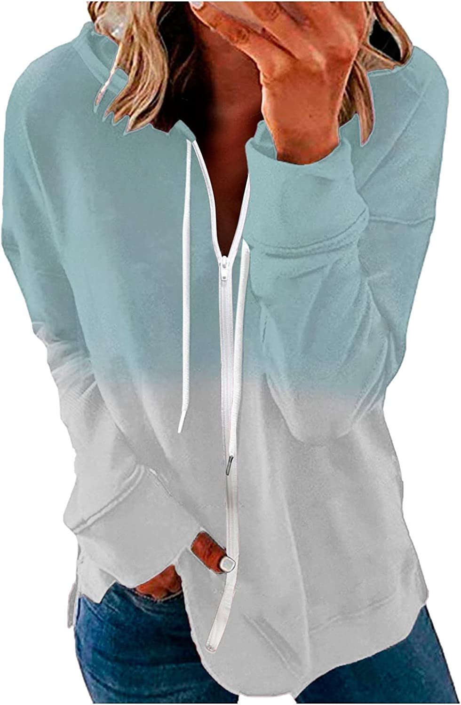 Womens Sweatshirts Zip-Up Hoodie Tops Lightweight Jacket Long Sleeve Coat Casual Drawstring Pullover Tunic Outwear