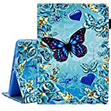 KEROM iPad Air 2 Case, iPad Air Case, iPad 9.7 inch Case 2018 2017, PU Leather Cover Wallet Case with Stand and Auto Sleep Wake for iPad 6th Gen/iPad 5th Gen/iPad Air 2/iPad Air - Blue Butterfly
