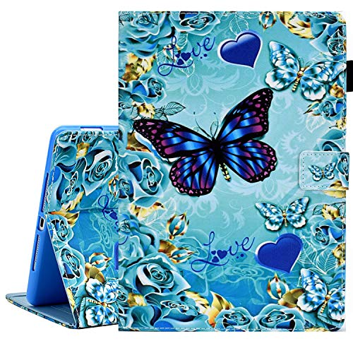 KEROM iPad Mini Case, iPad Mini 2 3 4 5 Case, PU Leather Slim Flip Folio Wallet Case, Smart Cover with Stand and Auto Wake/Sleep, Shockproof Protective Case for iPad Mini 5/4/3/2/1 - Blue Butterfly