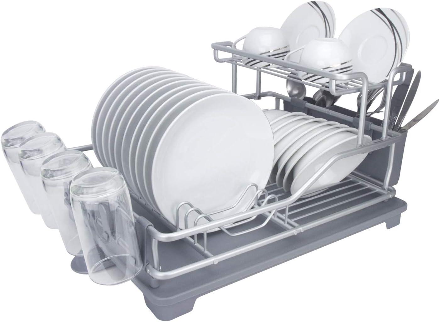 Evelyne GMT-10332 Aluminum Superlatite Dish Drying Rack 4 years warranty Utensil With Holder