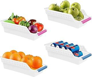 LxwSin Rangement Frigo, Organisateur de Réfrigérateur, 4 Pcs Bac de Rangement Frigo avec Poignée, Boîte Tiroirs pour Réfri...