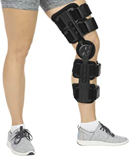 Hinged Leg Knee Support Brace Dual Hinges and Adjustable for Knee Joint Cross Straps Helps Stabilized Knee for Arthritic/Meniscus Tear/Sports Injuries/Walking Running (Updated Model) (Mode B)