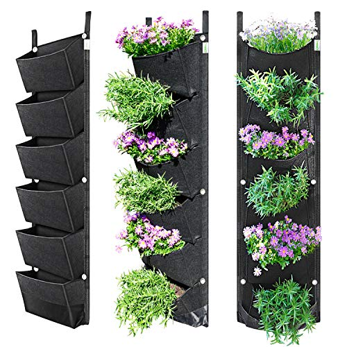 NEWKITS Vertical Wall Garden Planter with 6 Pockets Best Plant Growth Design Large Space Waterproof Breathable Use for Hanging Herb...