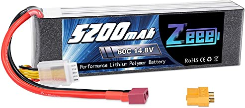 Zeee 14.8V 5200mAh 60C 4S Lipo Battery with Deans and XT60 Plug for RC Plane DJI F450 Quadcopter Airplane Helicopter RC Car Truck RC Boat