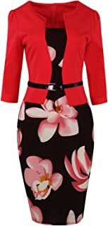 ROSE IN THE BOX Women's 1950s Slim Bodycon Business Work Career Pencil Church Dress