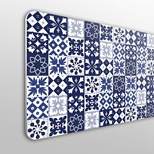 Megadecor hoofdeinde voor bed, PVC, 10 mm, decoratief. Design: Portugese tegels, blauw. 200cm x 60cm
