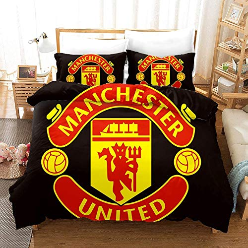 BLSM 3d Bedding Polyester Fiber Quilting Bedroom Set Comfortable Duvet Cover And Pillowcase Football Giants (Manchester United,3PCS172*218CM)