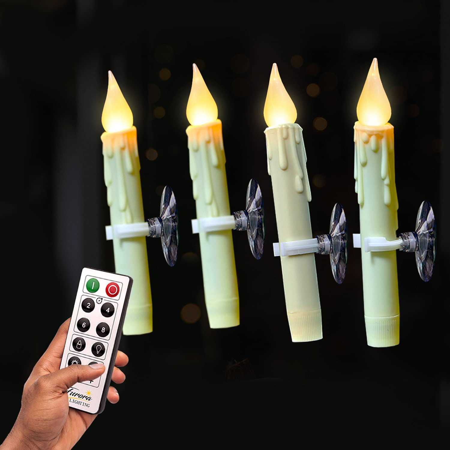 Flameless Taper Candles Remote Controlled Max 50% OFF Furora Free shipping anywhere in the nation of Pack 4 LIGH