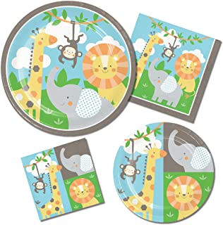 Jungle Animals Paper Plates and Napkins Set - 64 Total Pieces (Service for 16 People) Featuring Elephants Lions Monkeys and Giraffes - Great Value