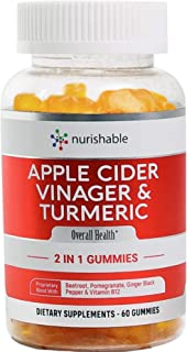 Apple Cider Vinegar Gummies & Turmeric Gummies in 1 Bottle - for Joint Support, Detox Cleanse & Weight Management for Wome...