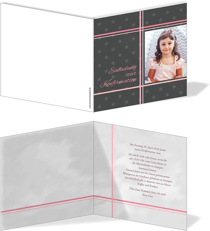 Einladung Einladungskarte Konfirmation Konfirmation Konfirmation Bilder Kreuz Grau Rosa B07N1S1PXT | Erste Klasse in seiner Klasse  a57857