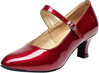 Casual Low Heel Pump for Women, Huazi2 Ladies Toe Closed Indoor Tango Rumba Ballroom Dancing Party Shoes Glossy Shoes