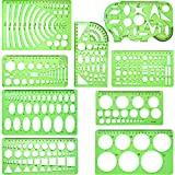 9 Pieces Drawings Templates Measuring Geometric Rulers Plastic Draft Rulers for School Office Supplies, Clear Green