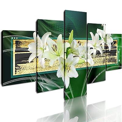 DVQ ART - Abstract Green Flower Wall Art Painti...