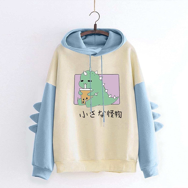 Dinosaur Sweatshirt for Women Long Sleeve Splicing Tops Cartoon Cute Hoodies Teens Girls Casual Pullover Tops