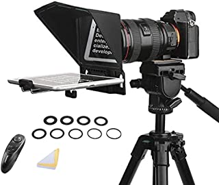 Desview T2 Portable Teleprompter Kit with 9 Lens Adapter Rings, Remote&APP Control, for Smartphones/Tablet/DSLR Camera, Yo...