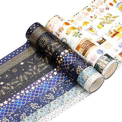 Washi Tape Set 18 Rolls Washi Tape Multi-Size Decorative Colored Tape Gold Foil Skinny Pattern Tape...