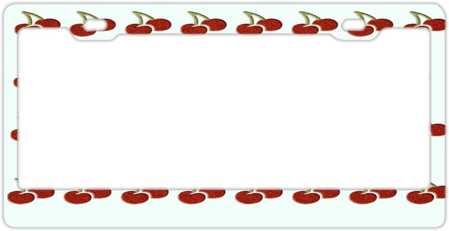 DKISEE Aluminum Finally popular brand License Plate Frame Pattern Shipping included Cherry