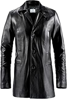 VearFit Max Payne Mark Wahlberg 3-Button Real Leather Trench Coat Blazar for Men