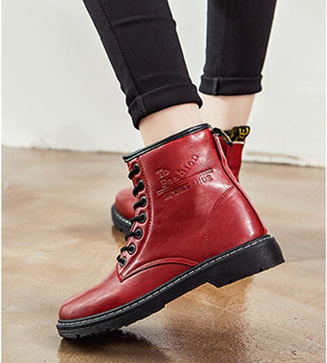 Women Martin Short Boots Locomotive Leather Flat Heel Warm Casual shoeslace Ankle shoes